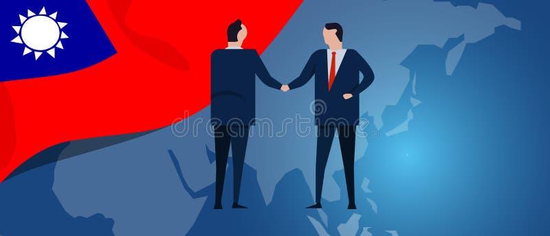 Tajwańska Tajwańska republika Porcelanowy międzynarodowy partnerstwo Dyplomaci negocjacja Biznesowego związku zgoda royalty ilustracja