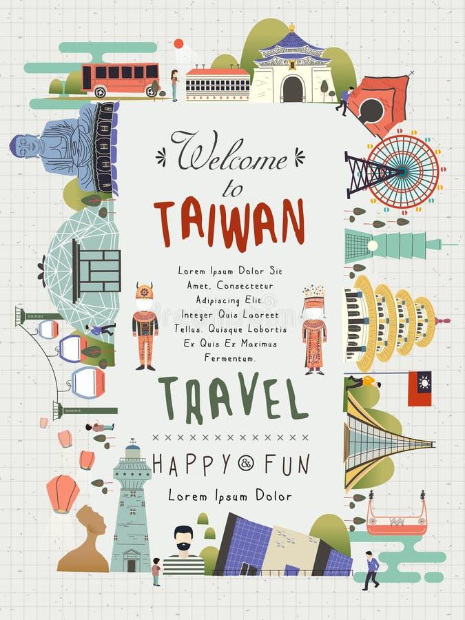 Tajwański podróż plakat ilustracji