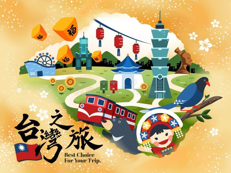Tajwański podróży pojęcia plakat royalty ilustracja