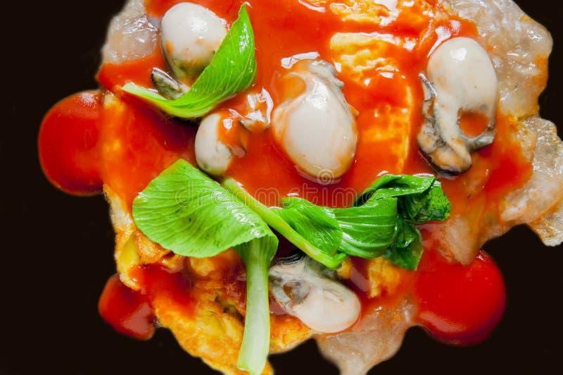 Tajwańskie tradycyjne przekąski, ostrygowy omelette obraz stock