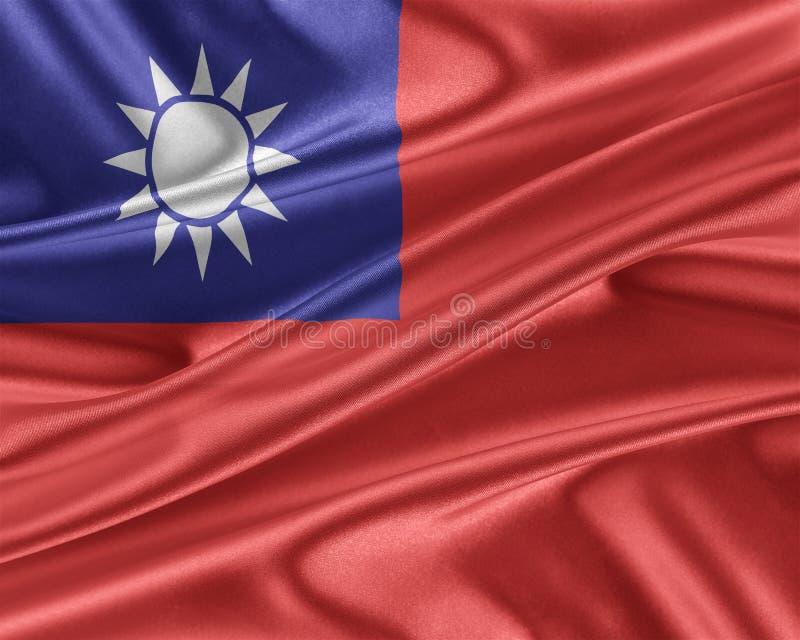 Tajwan flaga z glansowaną jedwabniczą teksturą ilustracji