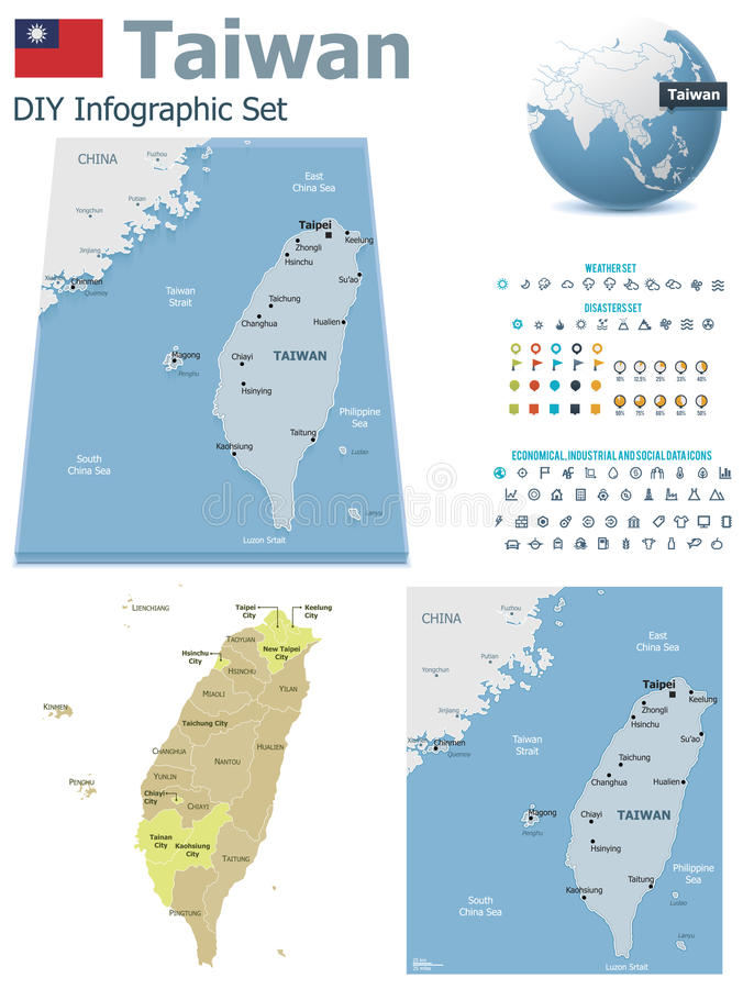 Tajwan mapy z markierami ilustracja wektor