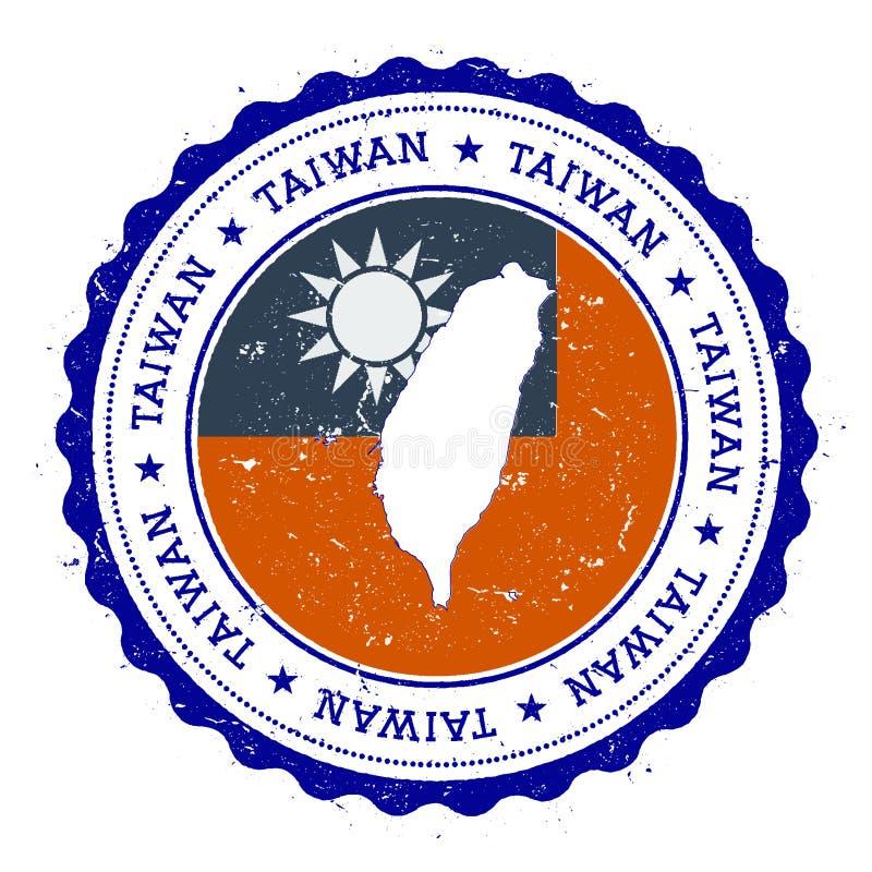 Tajwan, republika Porcelanowa mapa i flaga w roczniku, ilustracji