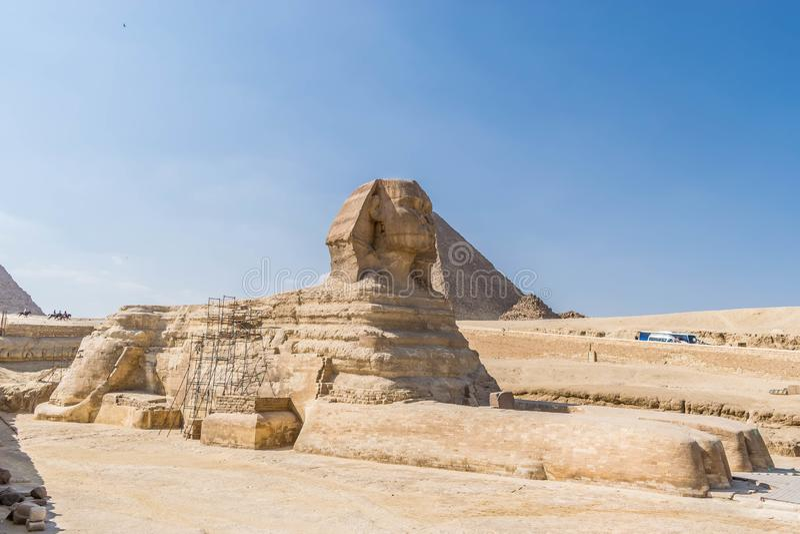 także widzieć sfinksa może tło Egypt Giza wielki khafre ostrosłup ty fotografia stock