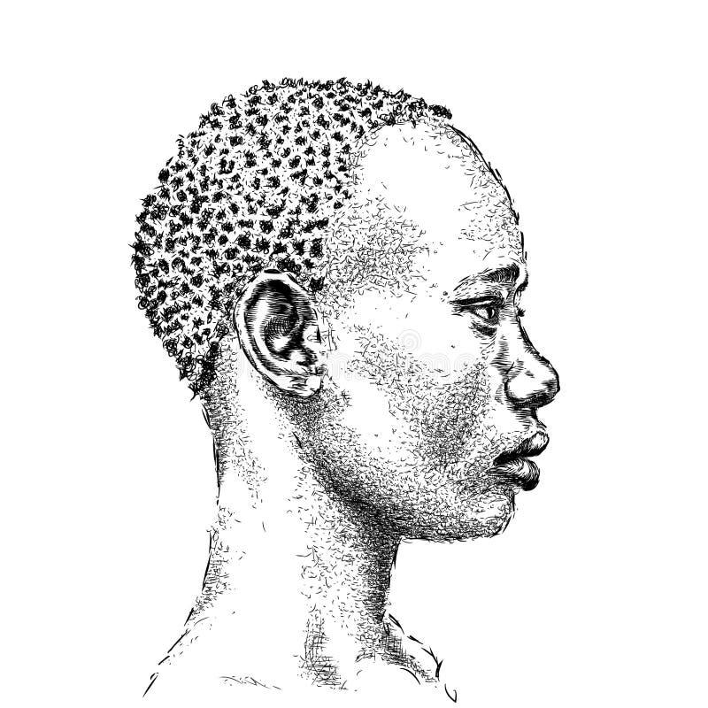 tak, afroamerykanin ładna dziewczyna piękna, czarna kobieta Profilowy widok Ręka remisu wektoru ilustracja ilustracja wektor