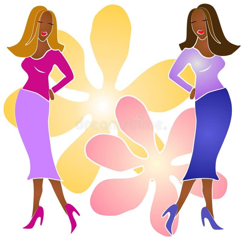tak, afroamerykanin mody dziewczyny royalty ilustracja