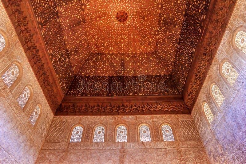 Tak Alhambra Moorish Wall Designs Granada Andalusia Spanien arkivbild