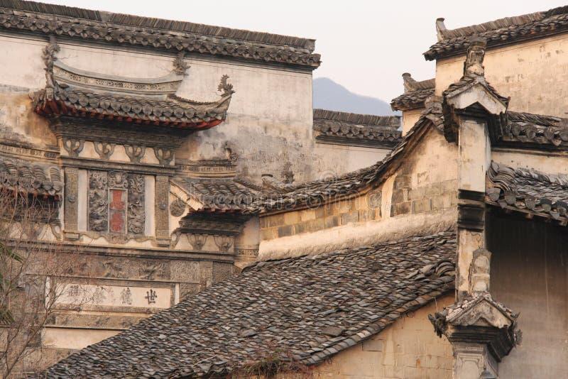 Tak av den forntida kinesiska byn arkivfoton