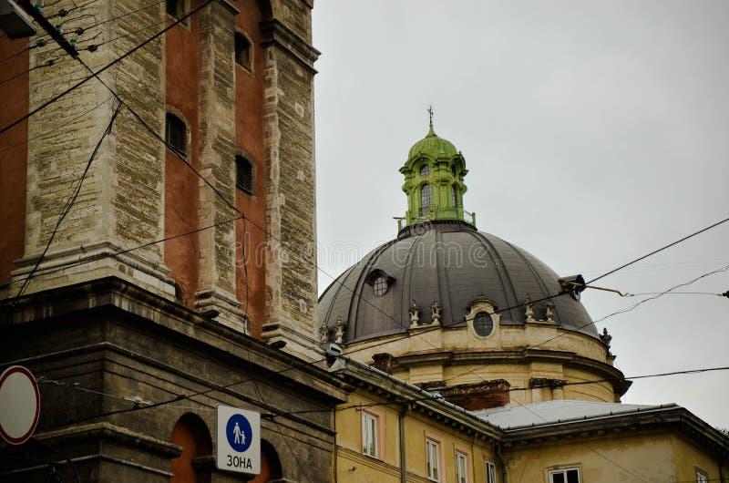 Tak av den Lviv staden, Ukraina arkivfoton
