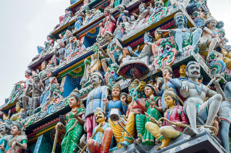 Tak av den Sri Veeramakaliamman templet i lilla Indien, Singapore arkivbilder