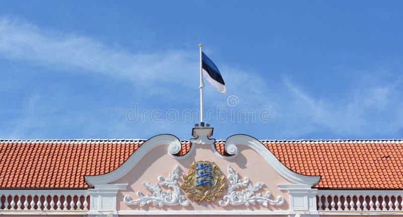 Tak av den Toompea slotten, estländsk parlamentbyggnad fotografering för bildbyråer