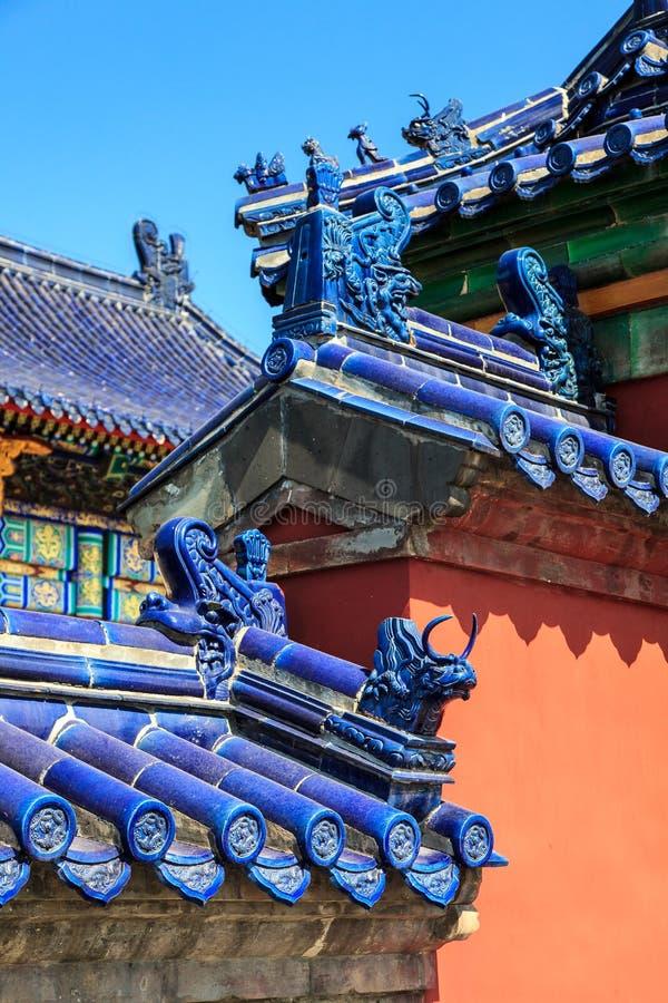 Tak av Forbiddenet City i Peking royaltyfri fotografi