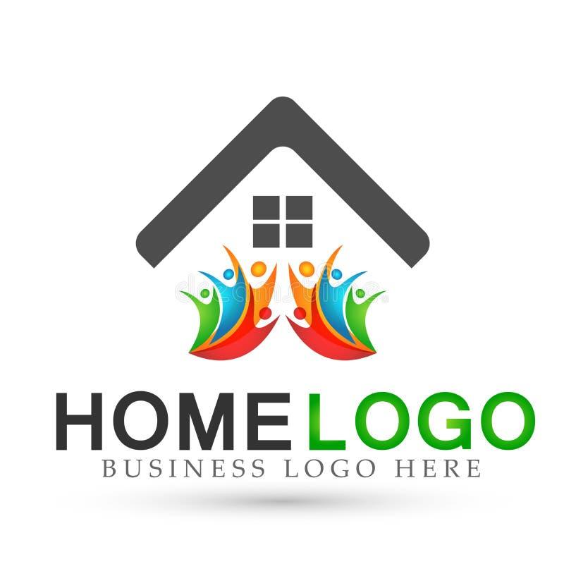 Tak för hus för abstrakt fastighetfolkfamilj lyckligt och hem- vektor för design för symbol för logovektorbeståndsdel på vit bakg stock illustrationer