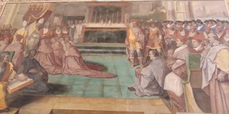 Tak för Vaticanenmuseumhall Freskomålningdetalj royaltyfri fotografi