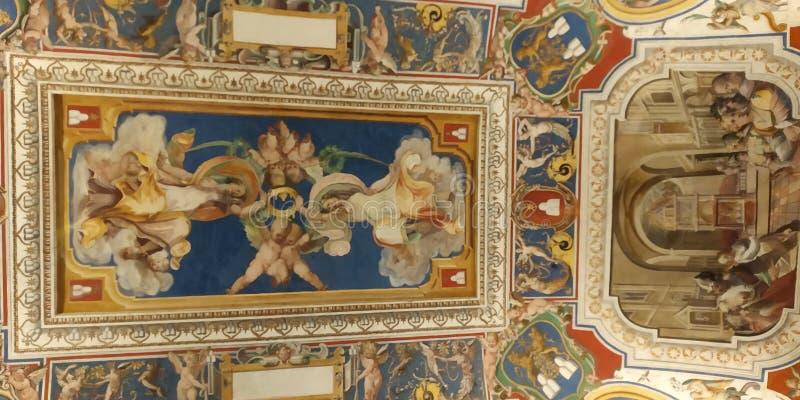 Tak för Vaticanenmuseumhall pallete för konstfärgdetalj royaltyfri foto