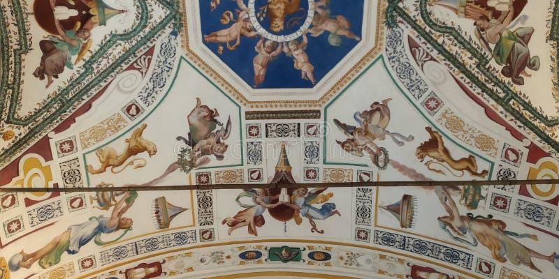 Tak för Vaticanenmuseumhall pallete för konstfärgdetalj royaltyfri bild
