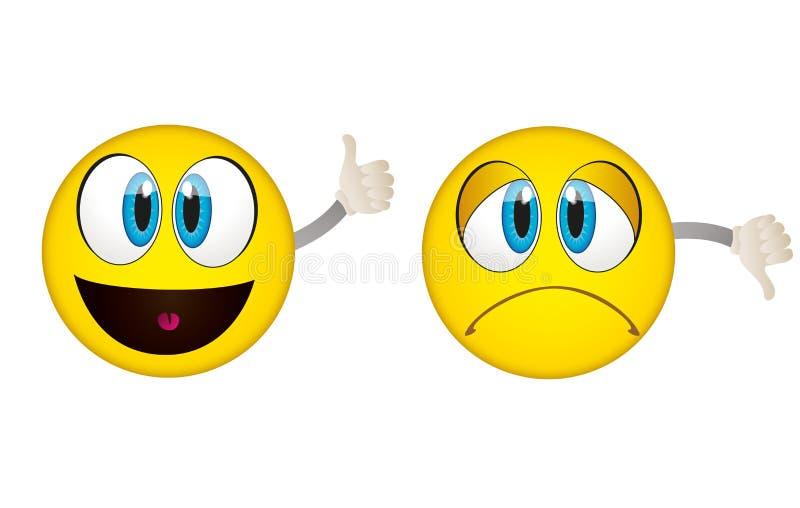 Tak i Żadny emoticons ilustracja wektor