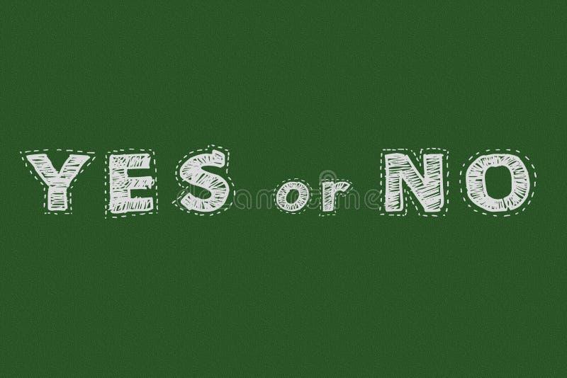 Tak lub żadny chalkboard typografii motywacyjny pojęcie dla strony internetowej ilustracji