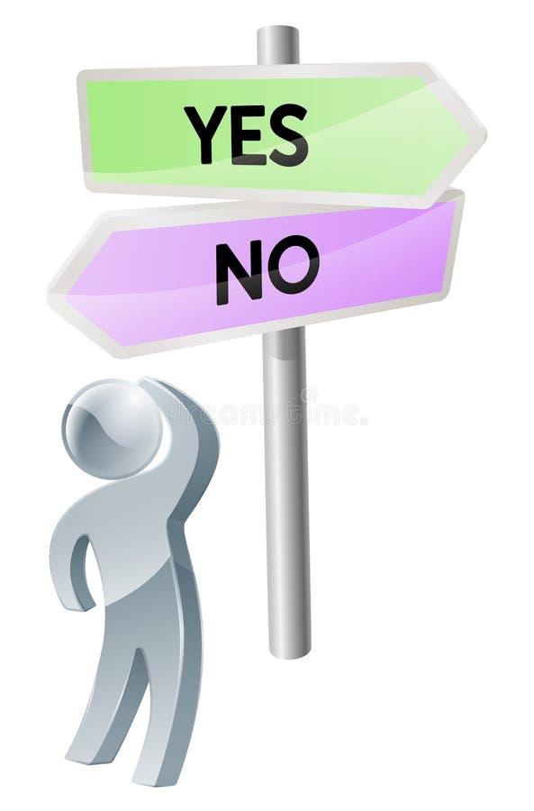Tak lub żadny decyzja ilustracja wektor