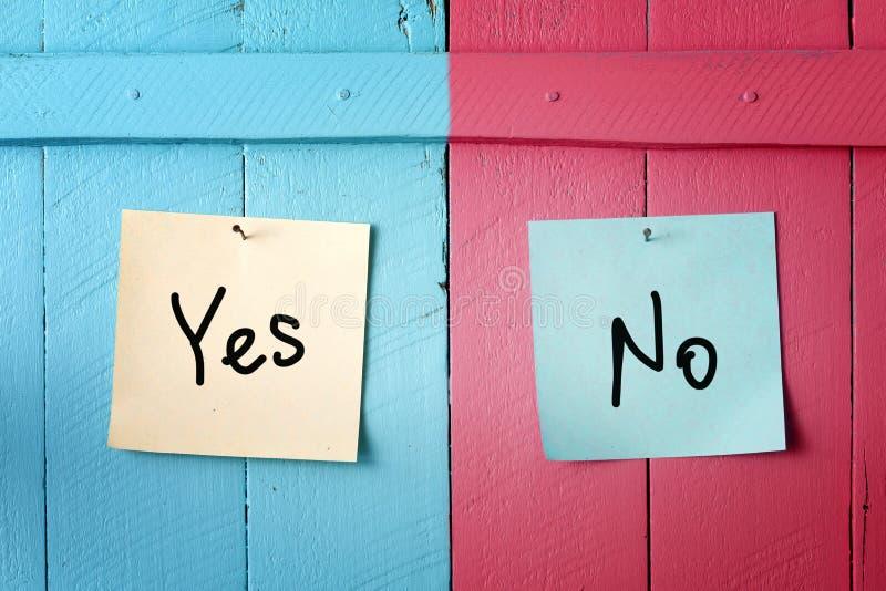 Tak lub żadny decyzja. Konflikt. obrazy stock