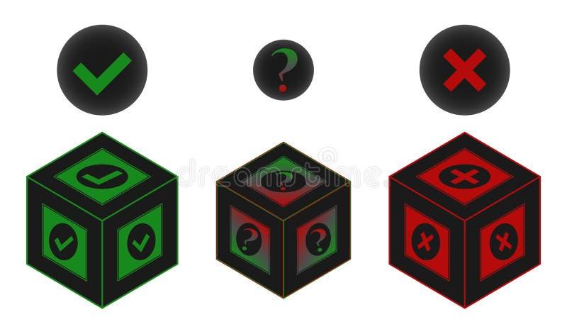 Tak lub żadny lub być może stylizował pudełko formę wektoru znak zdjęcie stock
