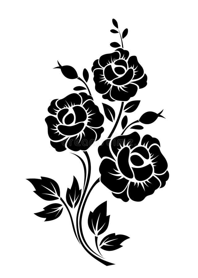Tak met bloemen Vector zwart silhouet royalty-vrije illustratie