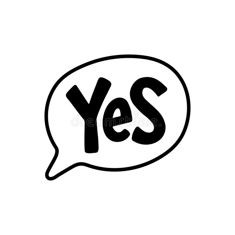 Tak słowo tekst na rozmowa kształcie Wektorowy ilustracyjny mowa bąbel ilustracji