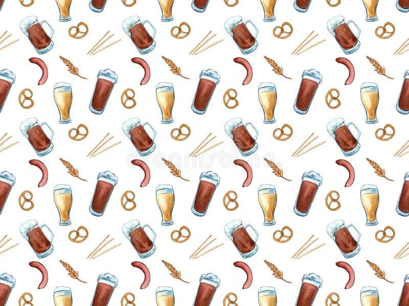 Tak van de het patroonhop van bierpictogrammen kan de naadloze, houten vat, glas bier, bier, kroonkurk, biermok, gerst oktoberfes vector illustratie
