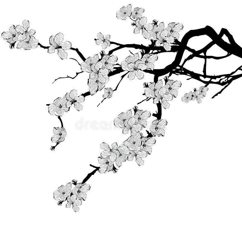 Tak van kersenboom stock illustratie