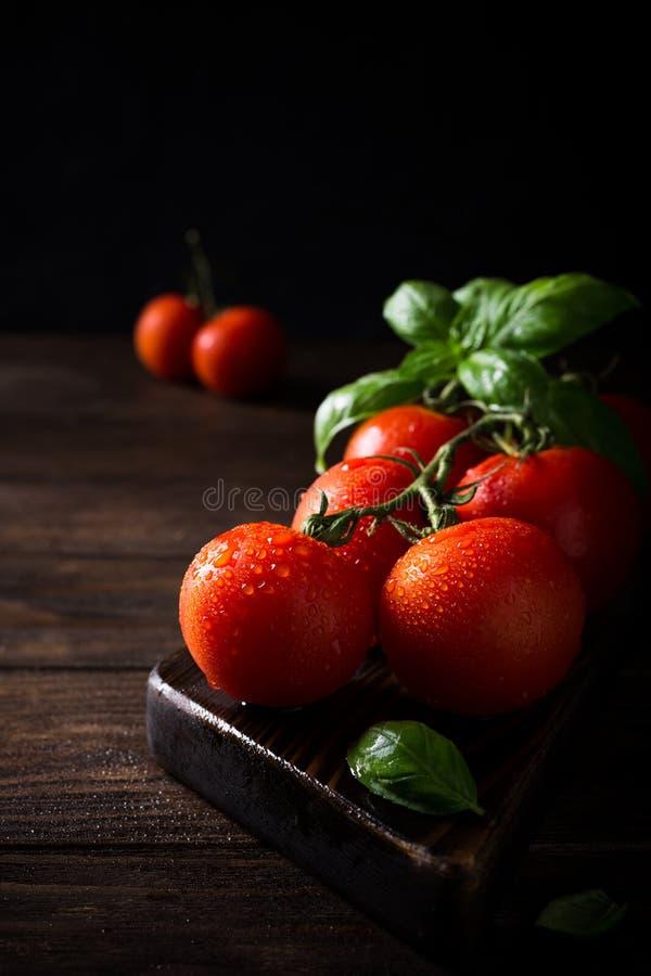 Tak van rijpe natuurlijke tomaten en basilicumbladeren royalty-vrije stock fotografie
