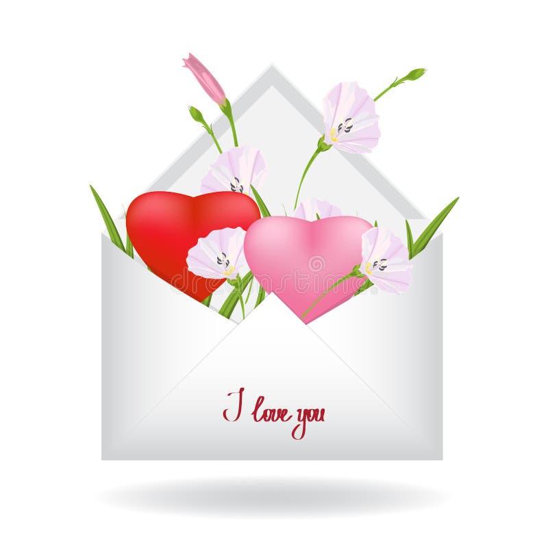 Tak van roze winde, vers groen gras en rood hart twee binnen een eenvoudige witte envelop stock illustratie