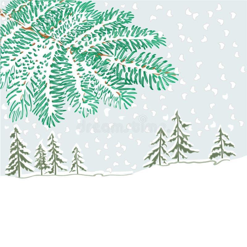 Tak van sparren en de vector van het de winterlandschap vector illustratie