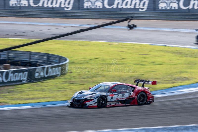 Takashi Kogure de Drago Modulo Honda Racing en GT500 Qualiflying imágenes de archivo libres de regalías