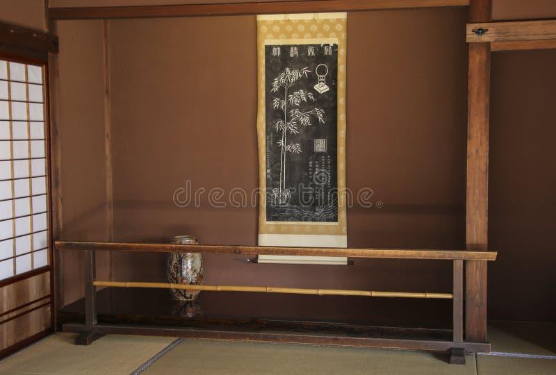 TAKAYAMA JAPAN MARS 27, 2019: Den nationella historiska platsen Takayama Jinya bildlokal s f?r g?st 3d royaltyfri bild