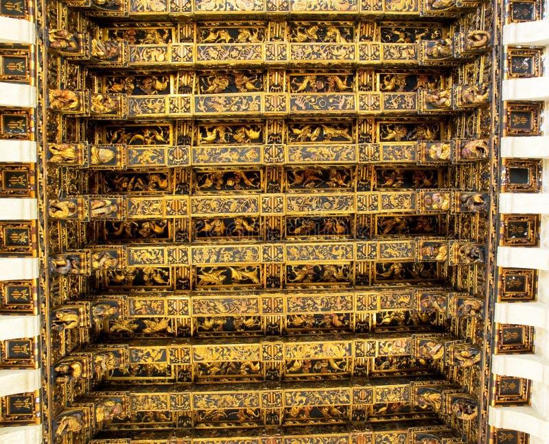 Takdetalj av Lonja de la Seda (siden- utbyte) i Valencia spain royaltyfria foton