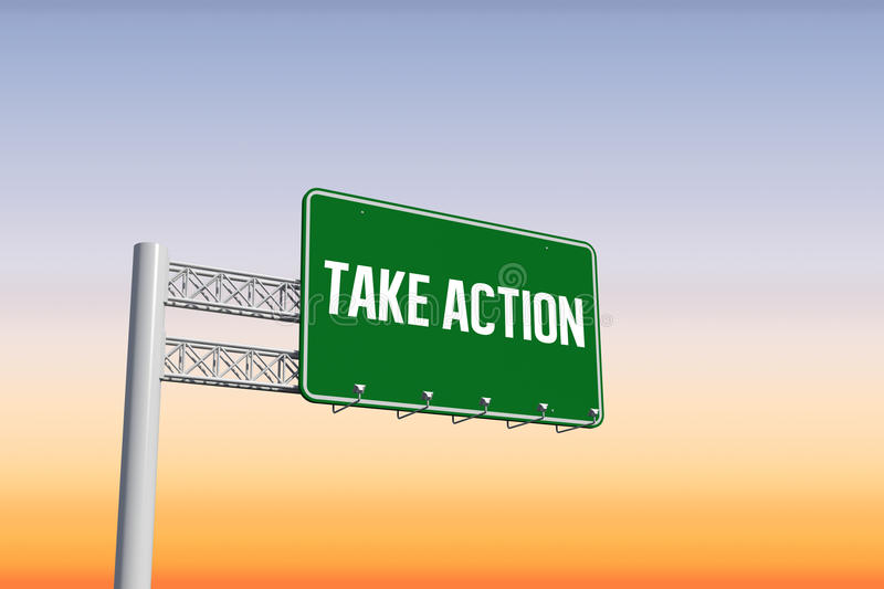 Take action against purple and orange sky royalty free illustration