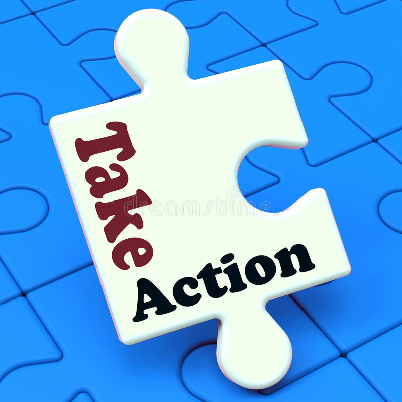 Take Action Puzzle Shows Inspire Inspirational And Motivate royalty free illustration