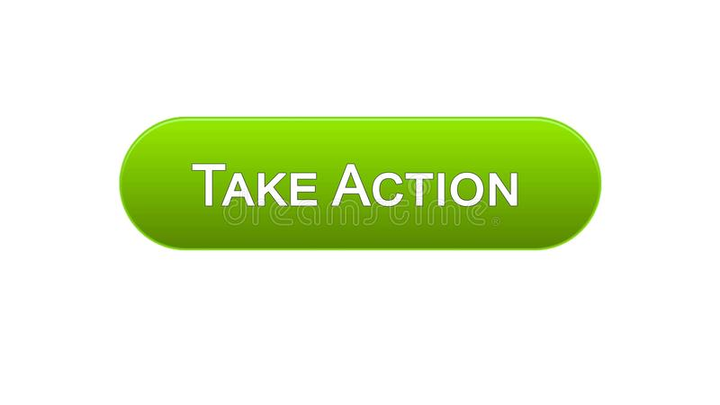 Take action web interface button green color, internet site design, leadership. Stock footage vector illustration
