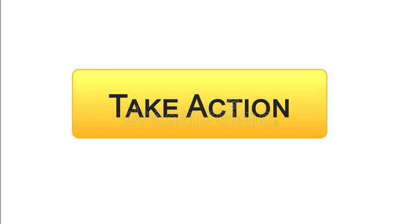 Take action web interface button orange color, internet site design, leadership. Stock footage stock illustration