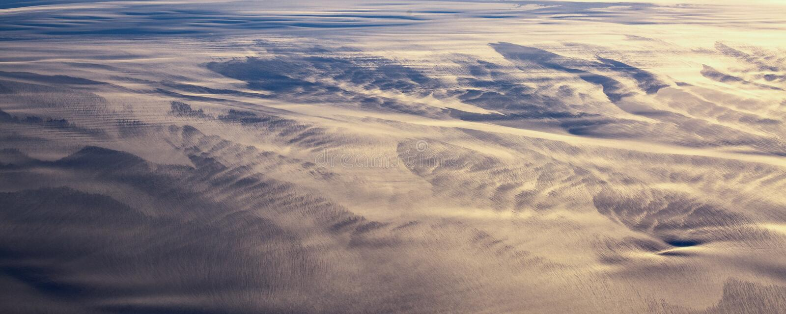 13Take an aerial view of the ice and sunrise over the bering strait.(1). The bering strait is located in the high latitudes, cold weather, many storms stock image