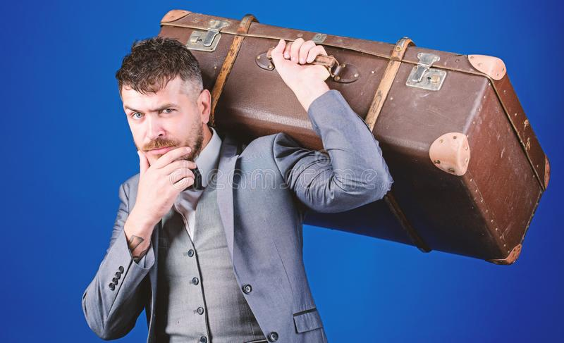Take all your things with you. Heavy suitcase. Delivery service. Travel and baggage concept. Hipster traveler with. Baggage. Baggage insurance. Man well groomed royalty free stock photos