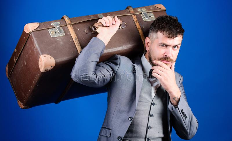 Take all your things with you. Heavy suitcase. Delivery service. Travel and baggage concept. Hipster traveler with. Baggage. Baggage insurance. Man well groomed royalty free stock photography