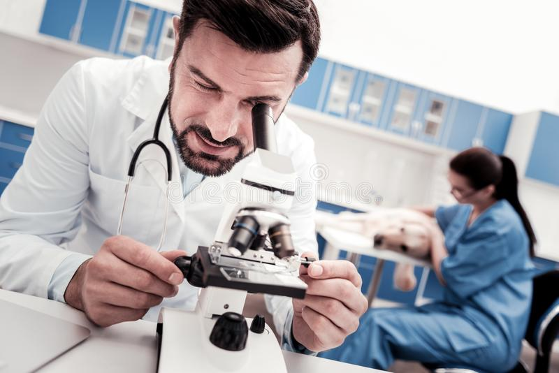 Attentive bearded man using microscope. Take analysis. Delighted medical worker wrinkling forehead while examining samples and standing on the foreground stock photo