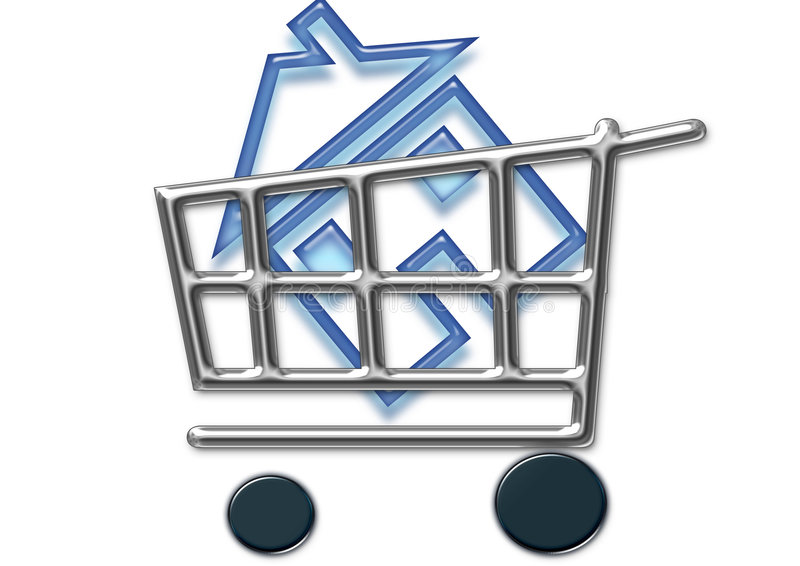 Take away. Shopping cart and home icon