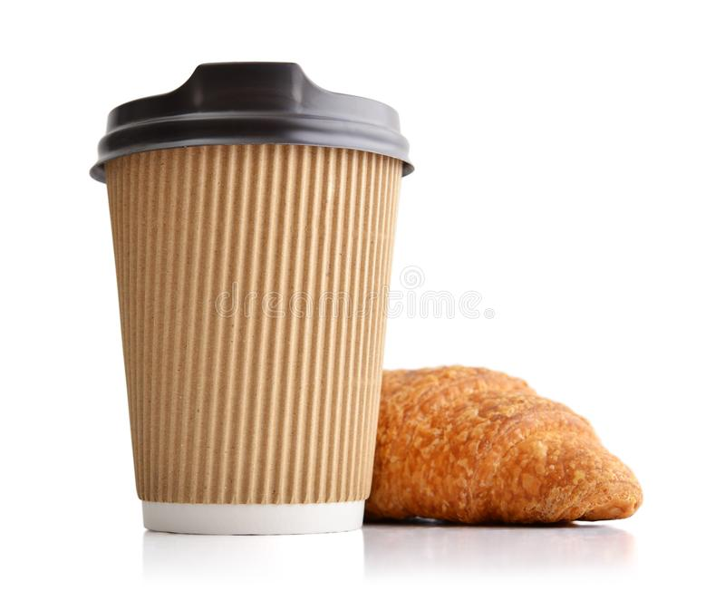 Take away coffee and fresh croissant royalty free stock photography