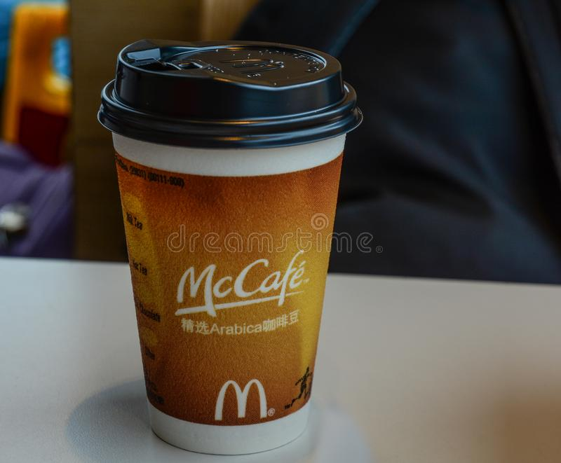 Take away hot coffee in paper cup royalty free stock image