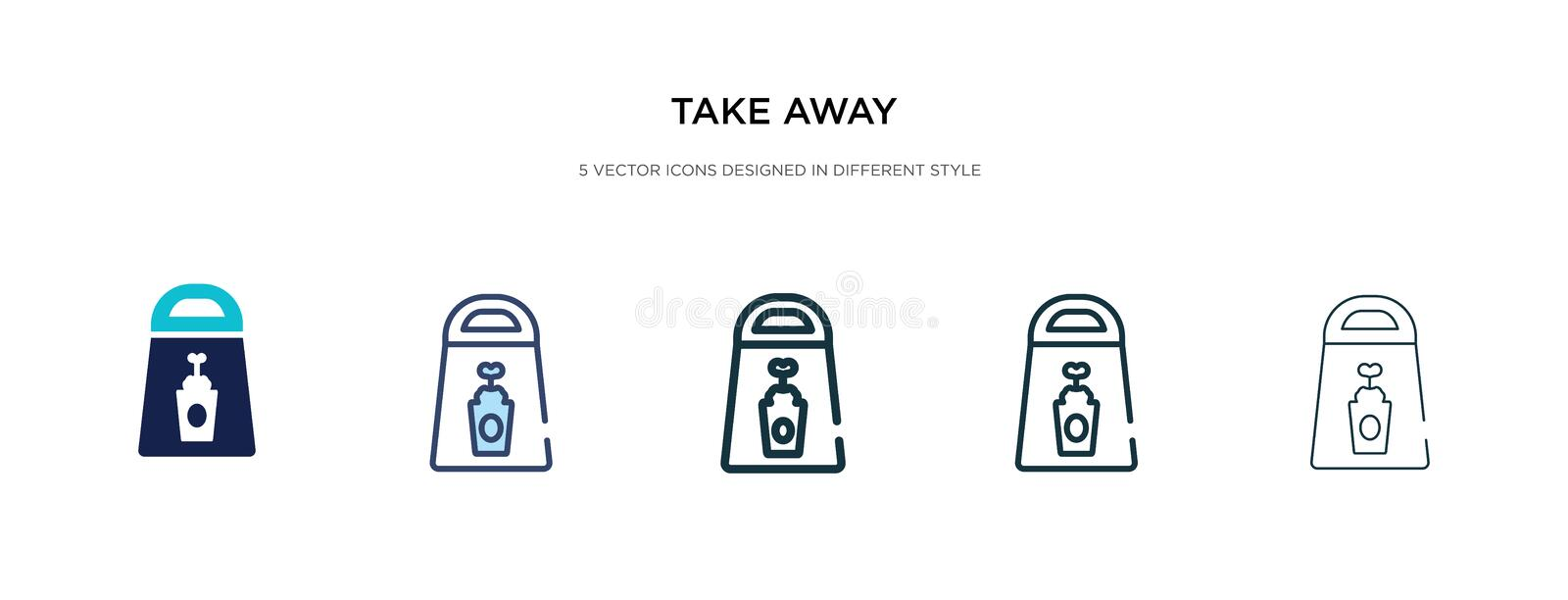 Take away icon in different style vector illustration. two colored and black take away vector icons designed in filled, outline, royalty free illustration