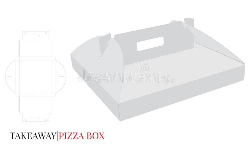 Pizza Box with Handle Template with die cut lines, Cardboard Self Lock Delivery Box. Vector with die cut / laser cut layers. White, blank, clear, isolated royalty free illustration