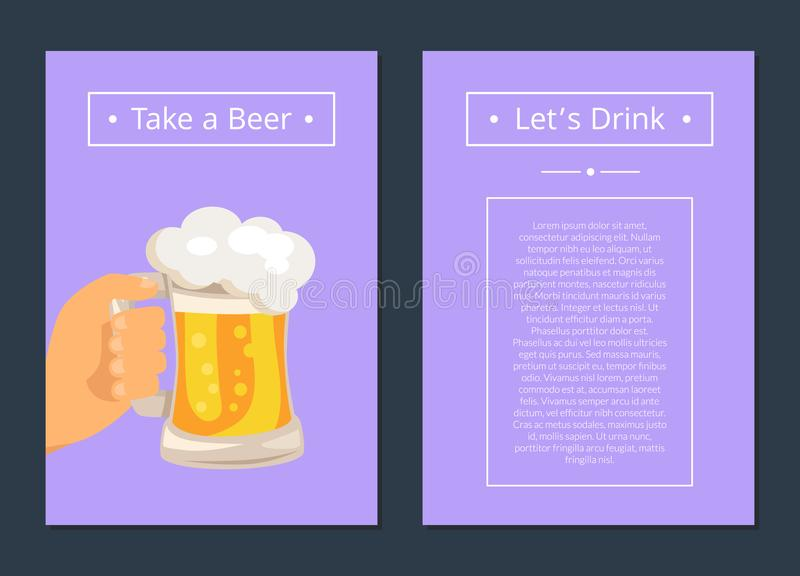 Take Beer and Let s Drink Set of Posters with Text vector illustration