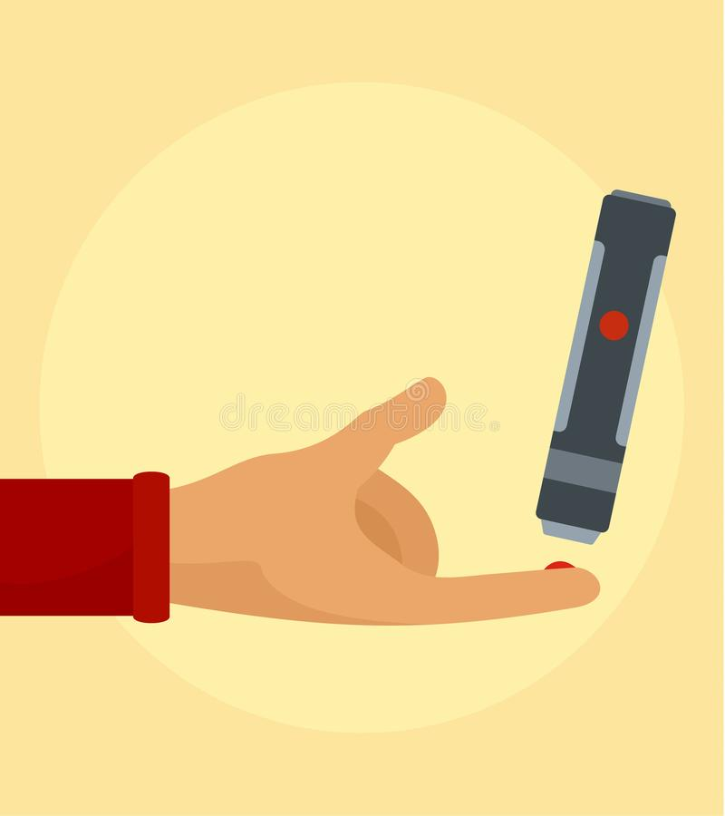Take blood from finger background, flat style stock illustration